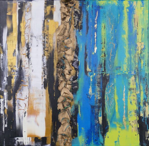 abstraktes Acrylbild, 2 ThingsBlue I
