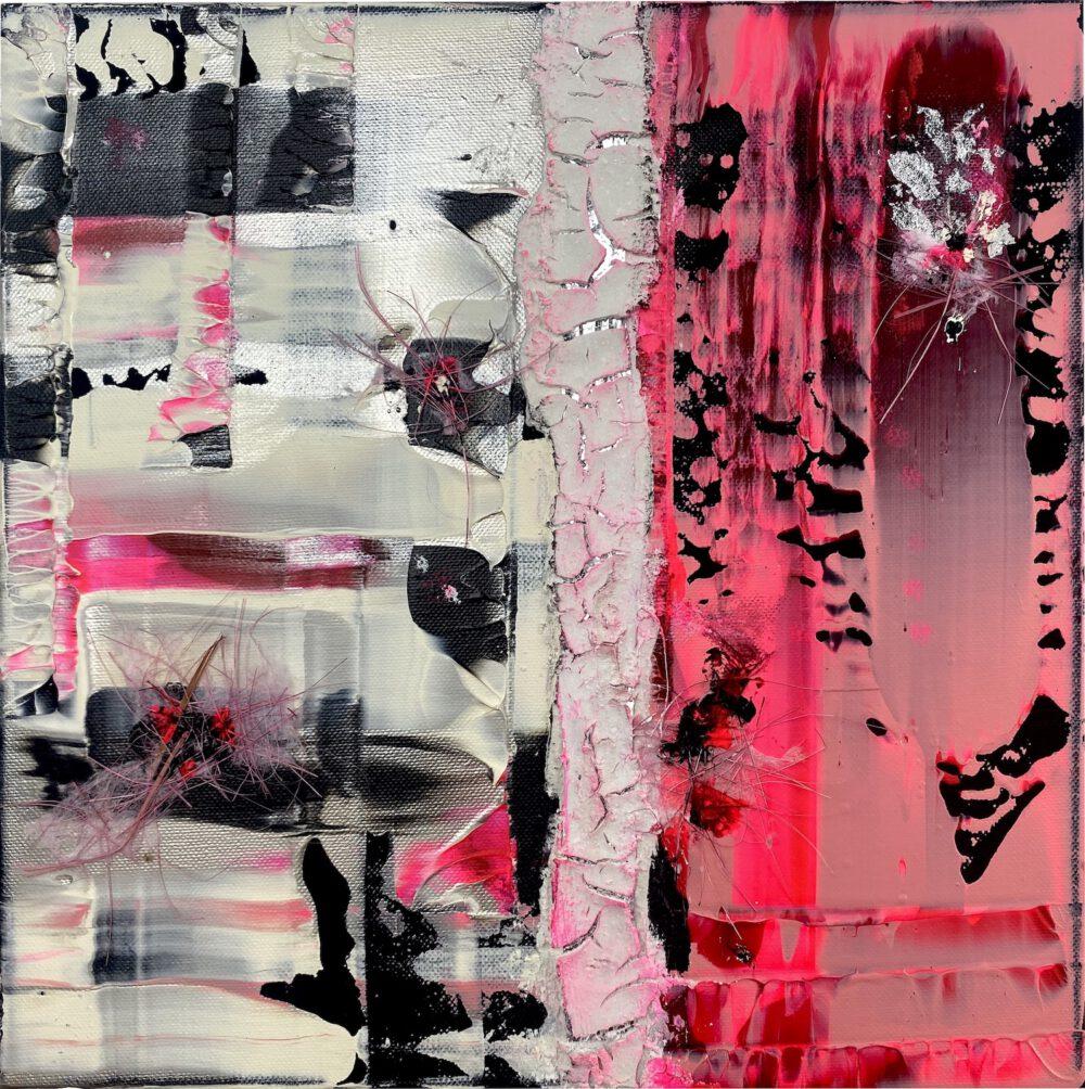 abstraktes Acrylbild auf Leinwand rosa 1