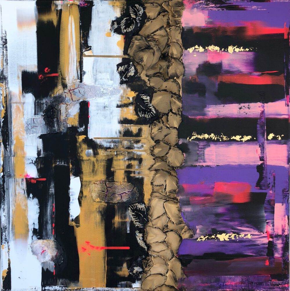 abstraktes Acrylbild auf Leinwand pink 2