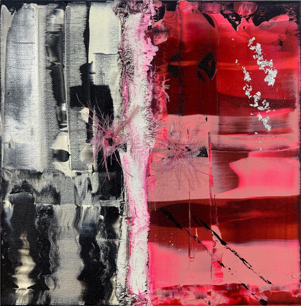 abstraktes Acrylbild auf Leinwand rosa 2