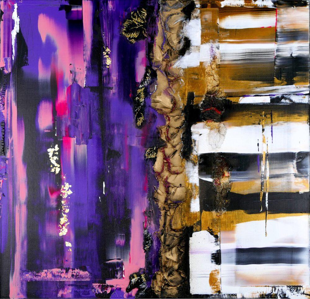 abstraktes Acrylbild auf Leinwand pink 1