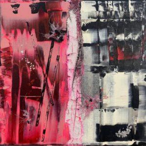 abstraktes Acrylbild auf Leinwand rosa 3