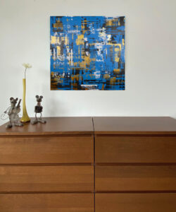 Wandbild Pixels in Blue