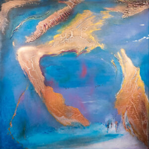 abstraktes Acrlybild Welt blau