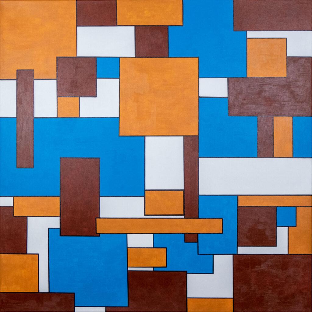 abstraktes Acrylbild mit geometrischen Formen braun