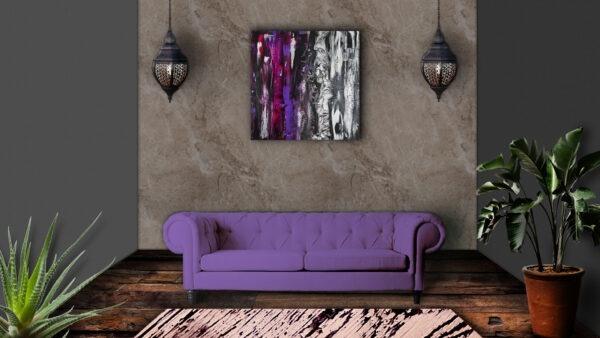 abstraktes Acrylbild an Wand 2 Things Lavender
